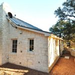 Farmhouse With White Chopped Limestone With Sliding Roof, White Wooden Frame Windows