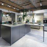 Flat Panel Cabinet Black Cabinet Black Appliances Exposed Brick Granite Countertop Pot Plants Patterned Backsplash Ceiling Lights