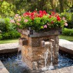 front yard fountains flowers pond travertine walls farmhouse design