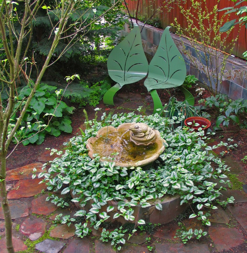 front yard fountains frog sculpture plants stone pavers leaf benches ceramic walls contemporary design