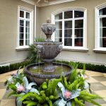 Front Yard Fountains Limestone Pavers Tier Basin Windows Plants Traditional Design