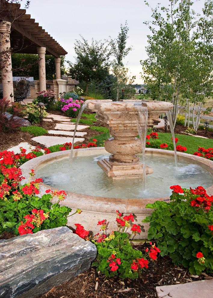 front yard fountains pool pillars garden stone pavers patio cover mediterranean design