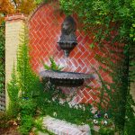 front yard fountains stone red walls garden lamp traditional design