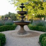 front yard fountains tier basin stone pavers garden plants fence traditional design