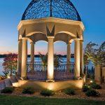 Gazebo With Beautiful Steel Ceiling, Lights On The Ground Illuminate The Gazebo