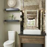 Glass Mirror Tiles Vessel Sink Wood Vanity Ceiling Lights Black Floating Shelves Closet