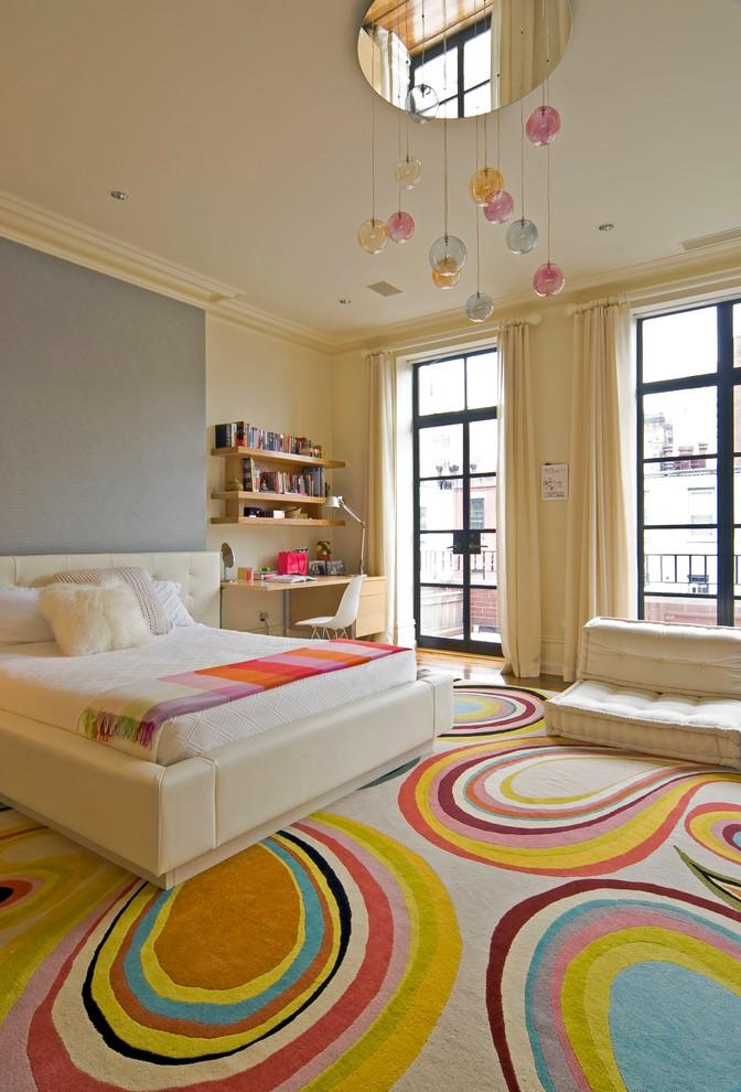 hanging lights in bedroom carpet double glass door window desk chair hanging bookshelves white bedding headboard double bed contemporary design