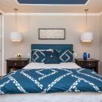 Hanging Lights In Bedroom Double Bed Sidetables Flower Vase Hardwood Floors Mirror Wall Curtain Transitional Design