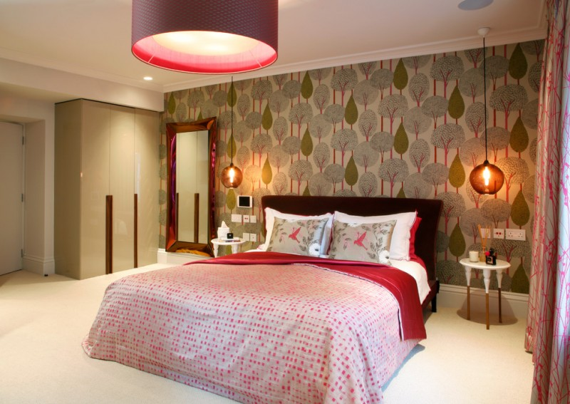 hanging lights in bedroom pendant double bed wallpaper round sidetables long mirror wardrobe white floors contemporary design