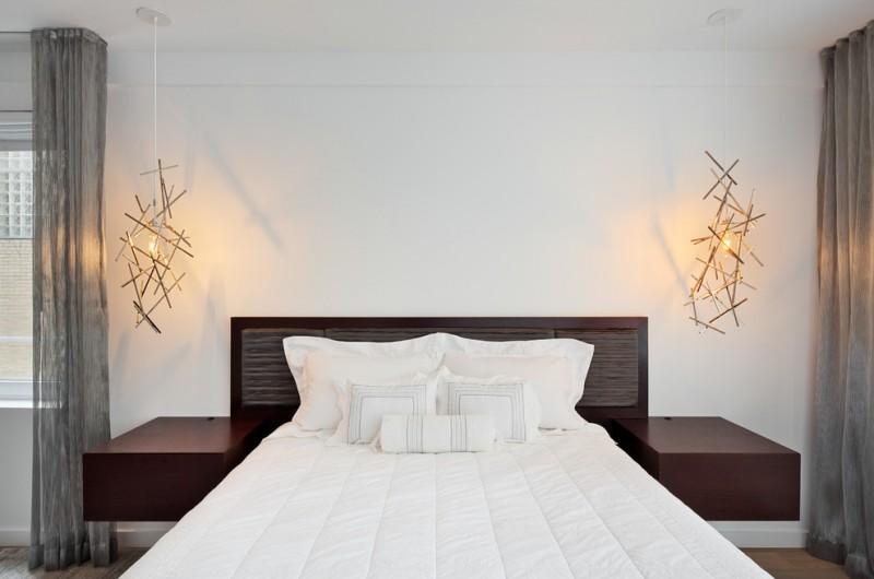 hanging lights in bedroom sidetables double bed white bedding hardwood floors curtains window scandinavian design