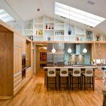hanging shelves from ceiling hardwood floor island chairs pendants backsplash wood cabinet ladder round table modern design