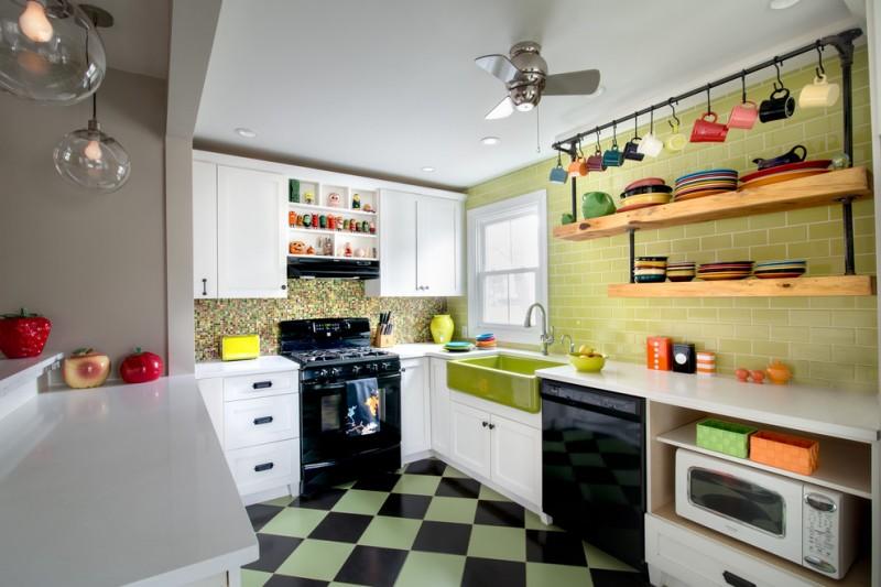 hanging shelves from ceiling subway tiles backsplash white cabinets glass pendant fan farmhouse sink ceramic floors
