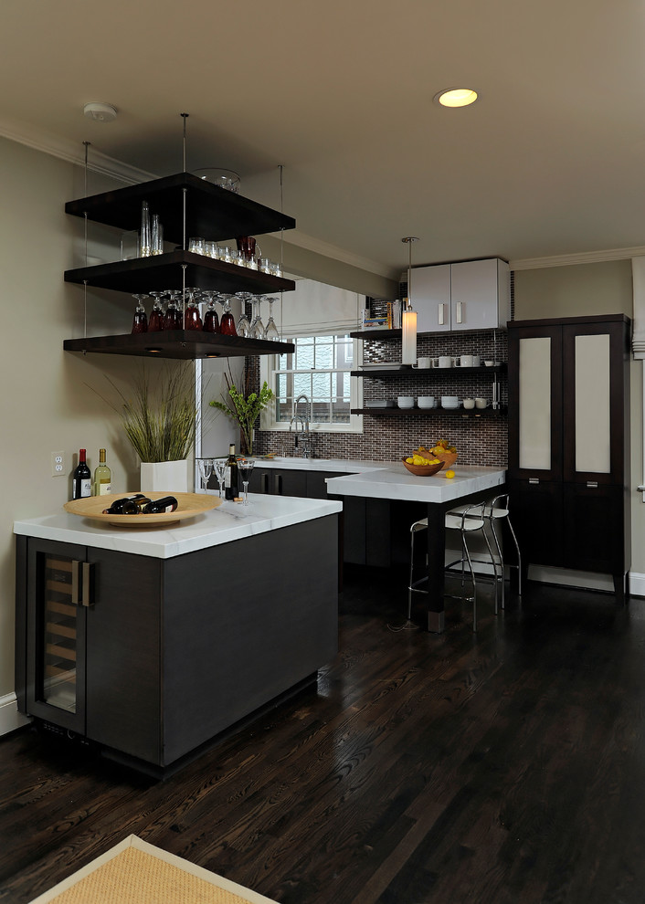 hanging shelves from the ceiling dark floor ceiling light beautiful countertops wall cabinet cool lamp contemporary kitchen