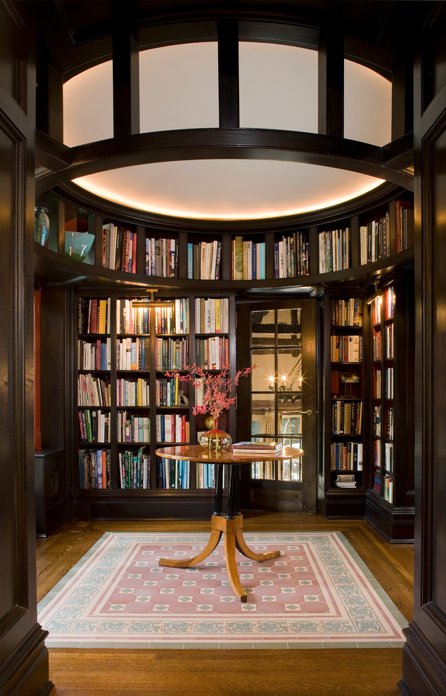 home library shelving antique bronze large ceiling light entryway table small beautiful pink rug flowers with vase mirrored door