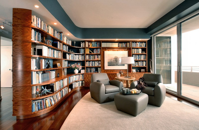 home library shelving grey chairs and ottoman large sliding glass door elegant patterned shelf rough rug side table