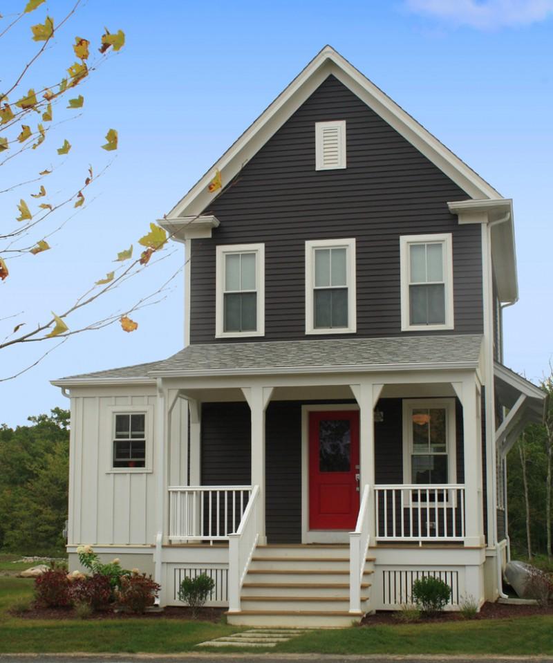 house skirting ideas stairs railings windows red door plants grass pillars farmhouse exterior