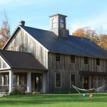 houses that look like barns grass trees windows railing door roof rustic exterior