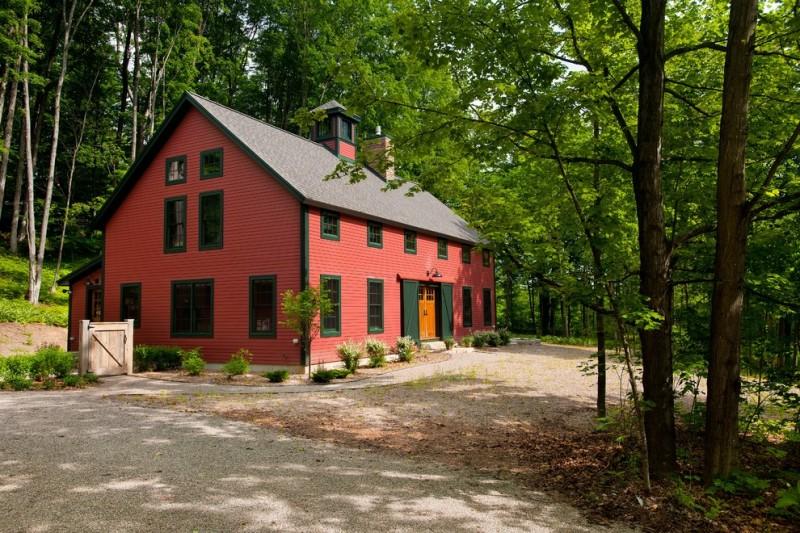 houses that look like barns windows door plants trees farmhouse exterior