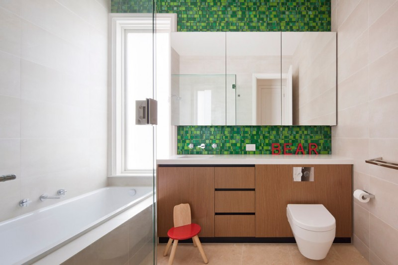 integrated toilet and bathroom cabinet brown and red chair tub with glass door rectangular mirror tile floor and wall