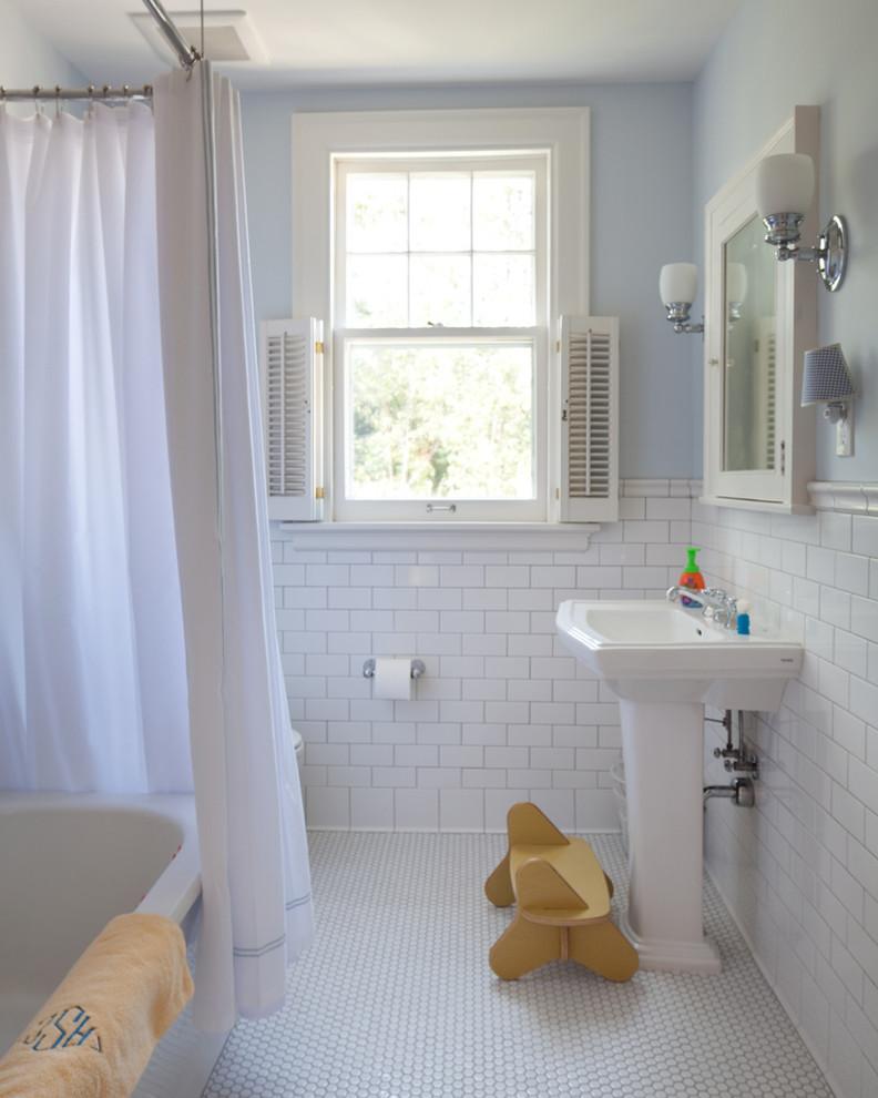 kate spade bathroom bathtub window curtain mirror lamps pedestal sink traditional style room