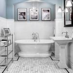 kate spade bathroom light coloured floor chandelier bathtub cool lamps shelves pedestal sink mirror wall decor traditional room