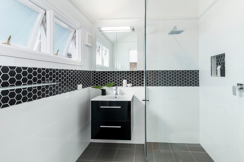 kate spade bathroom windows wall storage mirror dark floor faucets modern lamp shower towel rod contemporary style room