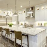 kitchen cabinets clearance light coloured floor island chairs cool lamps ceiling lights fridge transitional room