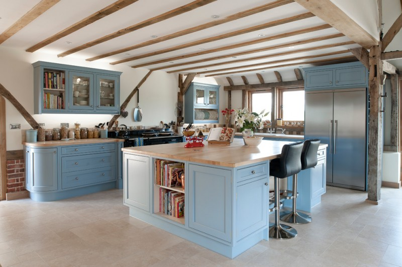 large kitchen islands with seating and storage chairs shelf books cabinets pillar windows farmhouse room