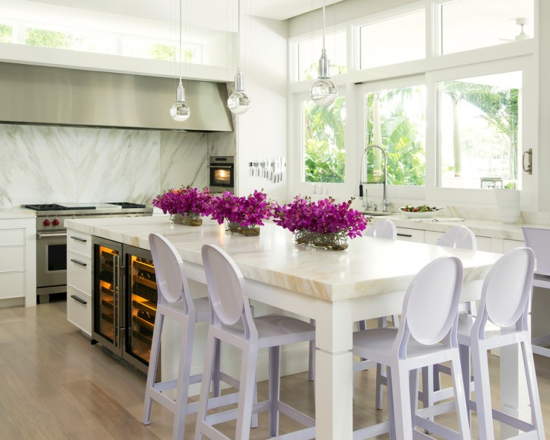 large kitchen islands with seating and storage chairs stove windows decorative plants faucet oven contemporary style room