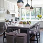 Large Kitchen Islands With Seating And Storage Dark Floor Chairs Very Cool Lamps Flowers Cabinets Windows Contemporary Room