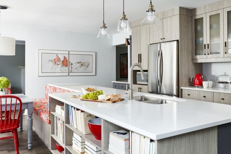 large kitchen islands with seating and storage shelves books bench cabinets chairs table faucet sink fridge painting lamps transitional room