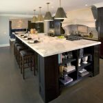 Large Kitchen Islands With Seating And Storage Stools Cabinets Cool Lamps Shelves Books Stove Ceiling Lights Traditional Kitchen
