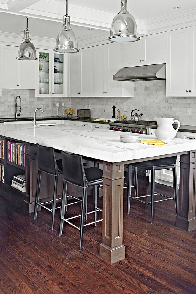 Large Kitchen Islands With Seating And Storage Wood Floor Dark Chairs Shelves Books Cabinets Pendant Lights