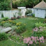 Lattice Fence Design Garden Roofs White Small Building Wood Bridge Stone Steps Traditional Design