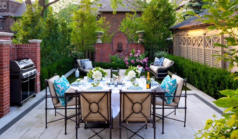 lattice fence designs brick walls patio stainless steel appliance chairs sofa loungers dining table plants traditional design