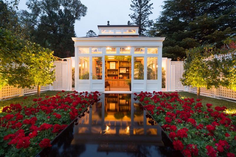 lattice fence designs fountain garden double glass doors roof bookshelves chair pots traditional design