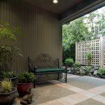 Lattice Fence Designs Stone Pavers Ornate Bench Plant Pots Traditional Design