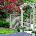 lattice fence designs stone pavers path grass flowers pots traditional design