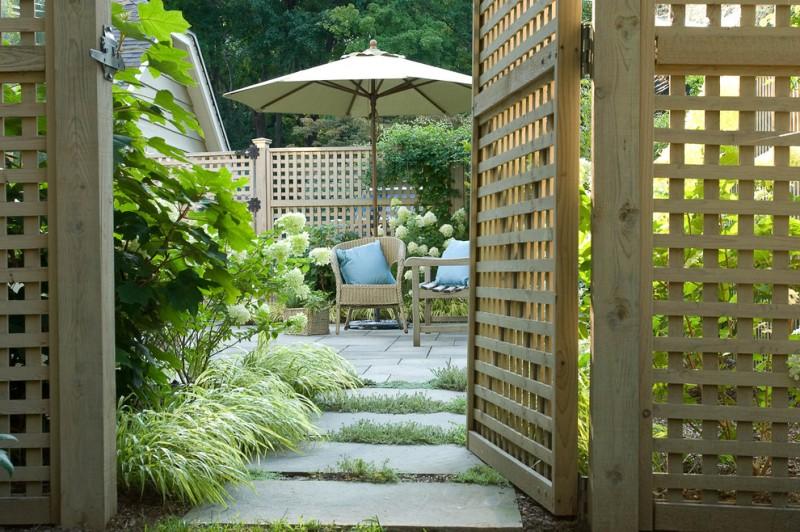 lattice fence designs sunbrella armchair bench stone pavers traditional design
