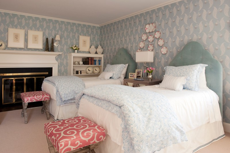 light toned bedding idea with light colored motifs pink oyster bed benches pink oyster decorative plates white finished rack white standard fireplace blue white wallpaper