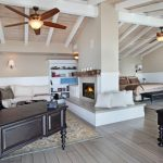 Living Spaces Bedroom Sets Bed Sectional Sofa Chaise Longue Ottoman Ceiling Fan Bookshelves Light Fixtures Desk Hardwood Floors Beach Style