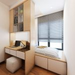living spaces bedroom sets platform bed study pod cabinet shelves hardwood floors ottoman window blinds ceiling light modern design