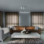 Living Spaces Couches Tv Sideboard Coffee Table Carpet Glass Vase Ceiling Lights Window Wall Curtains Contemporary Design