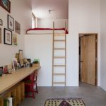 Loft Bed With Wooden Staircase White Wall Accent Rug Granite Floor Wooden Table Red Chair Wooden Door