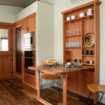 Mini Kitchen Units Beautiful Floor Chairs Table Shelves Oven Storage Spaces Contemporary Style Room