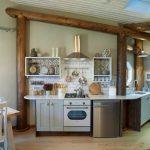 mini kitchen units chair table fridge oven window wall shelves cabinets clock stove lamp rustic room