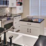 mini kitchen units dark countertop faucet sink stove oven wall cabinets shelf island window books traditional room