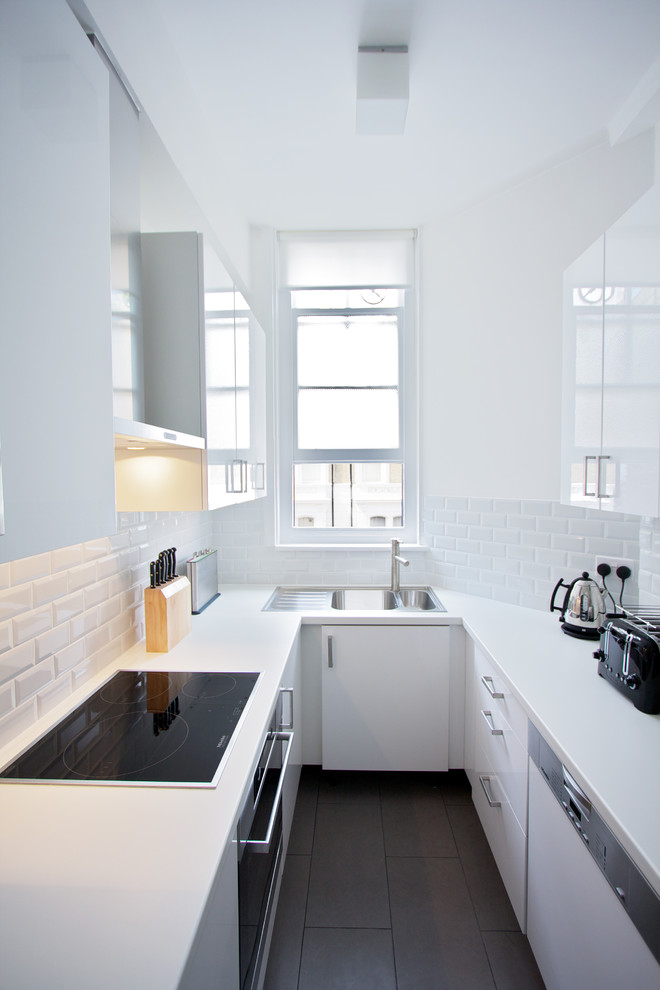 mini kitchen units dark floor wall cabinets faucet sink window knives small contemporary style room