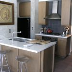 Mini Kitchen Units Modern Chairs Island Faucet Sink Wall Cabinets Stove Fridge Chopping Board Contemporary Room