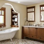 Mission Style Bathroom Dark Hardwood Bathroom Vanity With White Top A Couple Of Wood Framed Mirrors Recessed Wood Shelving Unit Free Standing White Bathtub Multicolored Mosaic Tiles Floors